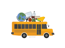 School bus carrying supplies