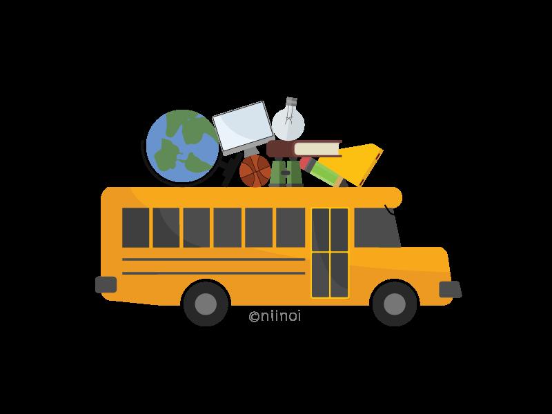 School bus carrying supplies