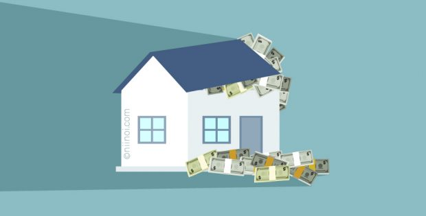 Money in a house, theme image for home finance, wealthy homes, property values, buy a home, home savings.