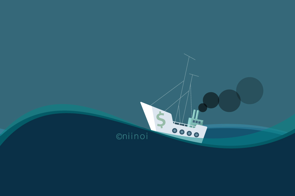 A shipping vessel on rough seas: Theme image for sailing, business, business-turbulence, planning, money, power, capacity, and calmness