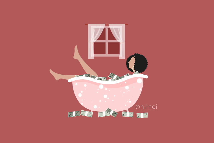 Business lady bathing in a bath tub full of cash