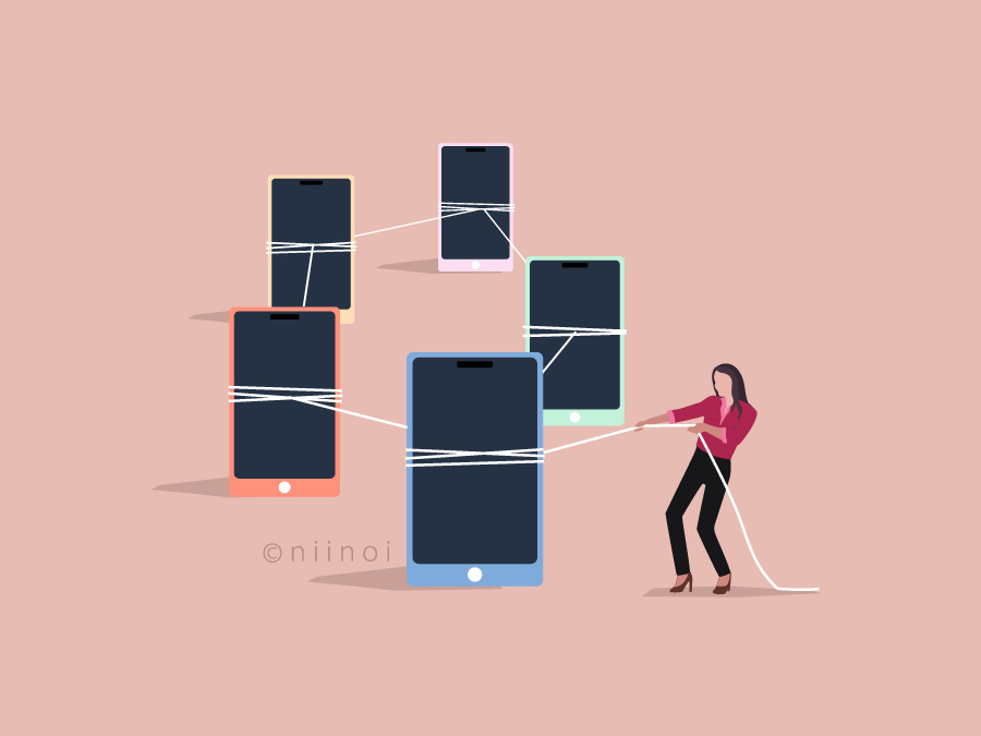 Free image of a lady connecting social media devices